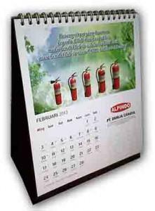 Cetak Kalender Meja per 1 Bulan (potrait) tampak samping